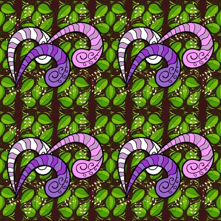 curlicues: Vintage retro style. Vector illustration. Seamless background. For print on fabric, textiles, sketch. Seamless pattern with colorful paisley, green, brown and black flowers and decorative elements.