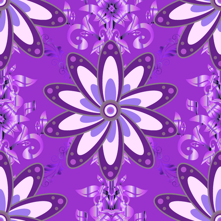 Vector in watercolor style. Seamless spring pattern with violet, neutral and purple Flowers, violet, neutral and purple, little violet, neutral, purple flowers.