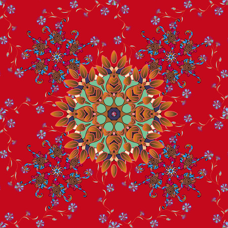 Vector watercolour floral pattern, delicate flowers, red, brown and orange flowers, greeting card template. Beautiful fabric pattern.
