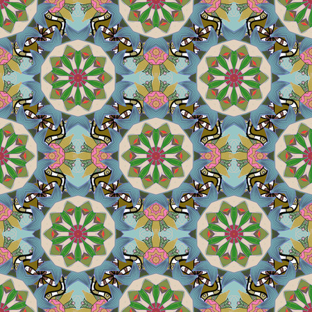 Vector - stock. Flowers with leaves and chamomile with cornflowers on blue, green and neutral colors. Seamless background pattern.