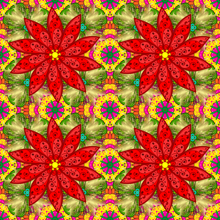 Seamless Floral Pattern in Vector illustration. Flowers on red, yellow and green colors.