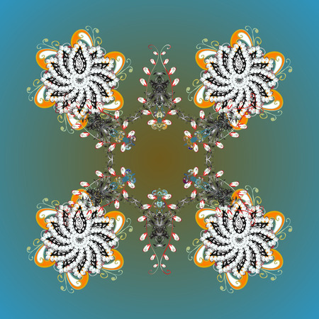 ?rystal snowflake in colors on colored background. Vector illustration. Illustration