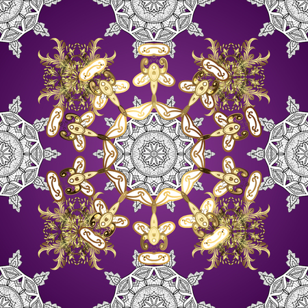 Classic oriental background with white doodles. Damask seamless ornament. Traditional vector and golden pattern. 向量圖像