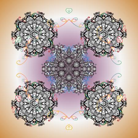 Vector illustration. ?rystal snowflake in colors on background. Illustration