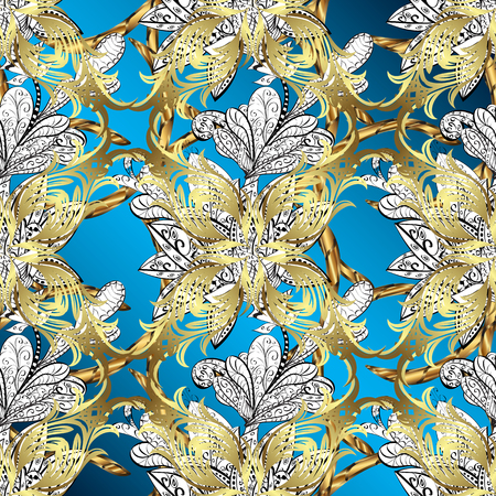 Damask ornamental pattern repeating background. Antique golden repeatable sketch. Golden element on blue, white and neutral colors. Golden blue, white and neutral floral ornament in baroque style.
