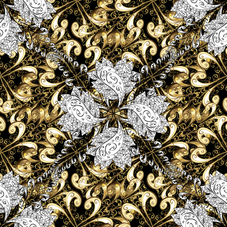 Oriental vector classic and golden pattern with white doodles. Seamless abstract background.