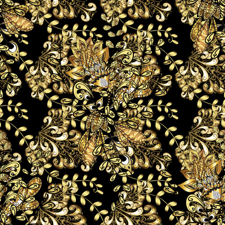 Traditional classic golden pattern. Seamless oriental ornament in the style of baroque. Golden pattern on black background with golden elements. Vector oriental ornament. Çizim