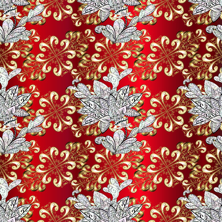 red carpet background: Classic vintage background. Ornamental classic vector golden pattern. Traditional orient ornament. Ornamental pattern on red, neutral and beige colors with golden elements and white doodles.