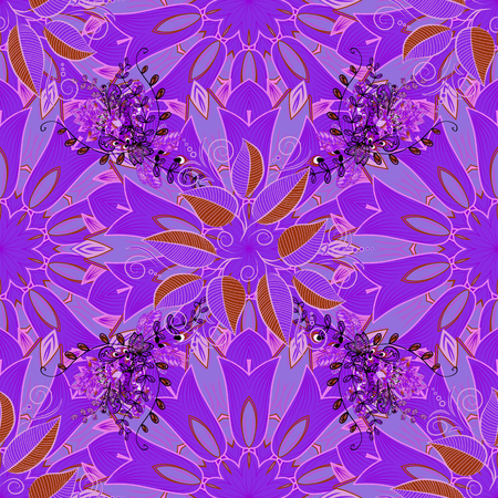 Flowers of the valley on violet, neutral and pink colors. Illustration of floral seamless pattern.