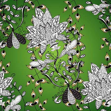 Vector golden pattern. Vector illustration. Green, white and gray colors with golden elements. Oriental style arabesques. Ornamental golden textured curls.