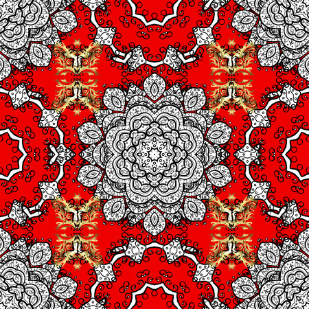 Colored mandala logo on red, black and white colors. Sacred geometric vector symbol with many petals flower.