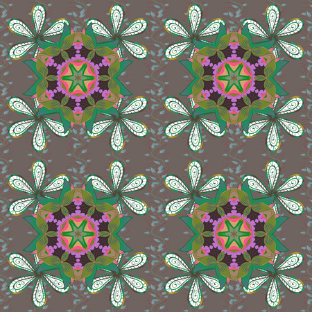 metaphysical: Vector geometric circle elements. Round Ornament Pattern on a brown, green and white colors. Oriental motifs. Spiritual and ritual symbol of Islam, Arabic, Indian religions. Colored Mandala.