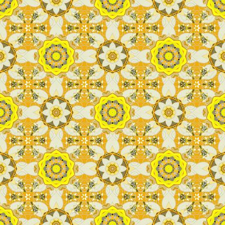 벡터 민족적인 만다라, 낙서 배경 동그라미. 노란색, 중성 및 베이지 색.