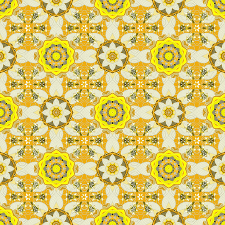 Vector ethnic mandalas, doodle background circles. Yellow, neutral and beige colors. Illustration