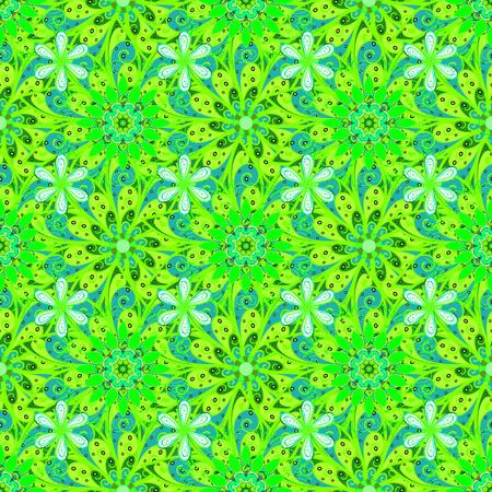 Diseño plano de elementos de flor. Color Spring Theme sin patrón de fondo. Flores en colores verdes, azules y blancos. Patrón floral transparente en la ilustración vectorial. Ilustración de vector