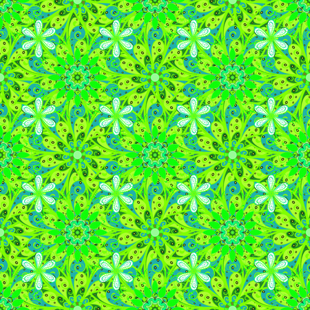 Flat Flower Elements Design. Colour Spring Theme seamless pattern Background. Flowers on green, blue and white colors. Seamless Floral Pattern in Vector illustration. Ilustração