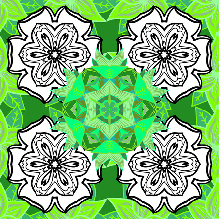 allover: Cute flower vector pattern. Flat Flower Elements Design. Flowers on green, white and black colors. Seamless Colour Spring Theme seamless pattern Background.