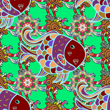 red carpet background: Vector illustration. On green, blue and red colors in watercolor style. Seamless spring pattern with green, blue and red, brown. Fish.