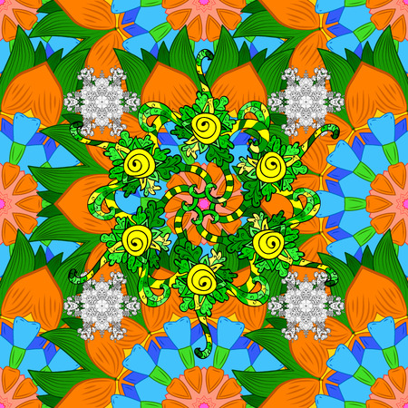 elaborate: Vector round mandala in childish style. Ornamental doodle orange, green and blue colors. Vector nature seamless pattern with abstract ornament.