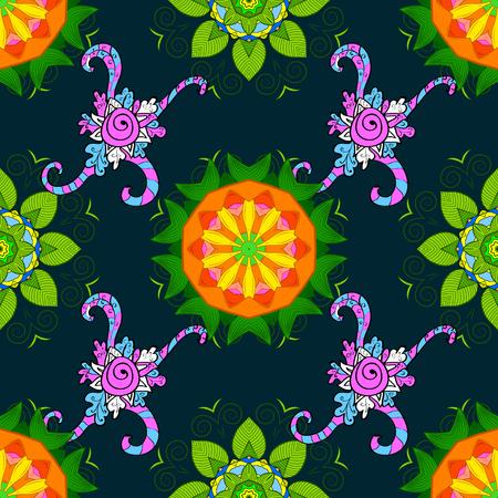 superlative: Business identity concept for bio, eco company, yoga or spa salon. Flower on blue, green and orange. Mandala logo. Vector gradient premium logotype. Illustration