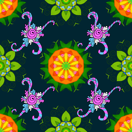 Business identity concept for bio, eco company, yoga or spa salon. Flower on blue, green and orange. Mandala logo. Vector gradient premium logotype. Illustration