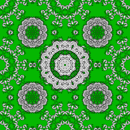 Vector vintage pattern. Mandala colored on a green, white and black colors. Invitation card.