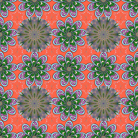 Flowers on orange, neutral and green colors. Cute Floral pattern in the small flower.