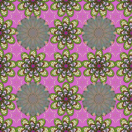 ピンク、緑、中立的な色です。花。シームレスな装飾的な背景、花曼荼羅。ベクトルの図。  イラスト・ベクター素材