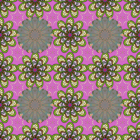 On pink, green and neutral colors. Flower. Seamless decorative background, flower mandala. Vector illustration.