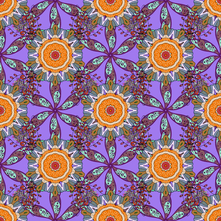 frailty: Vector seamless floral pattern. Flowers of the valley on violet, blue and purple colors.