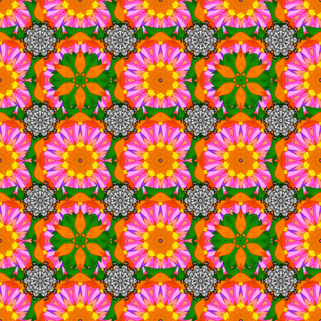 Abstract seamless pattern with hand drawing flowers. Vector illustration. Flowers on orange, pink and green colors. Illustration