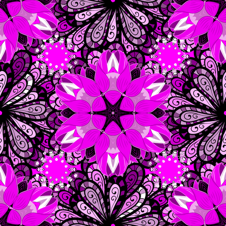 Vector texture for prints, fabric, sketchs, textile. Embroidery floral seamless pattern. Colorful grunge flourish abstract background with colomagenta, black and purple flowers.