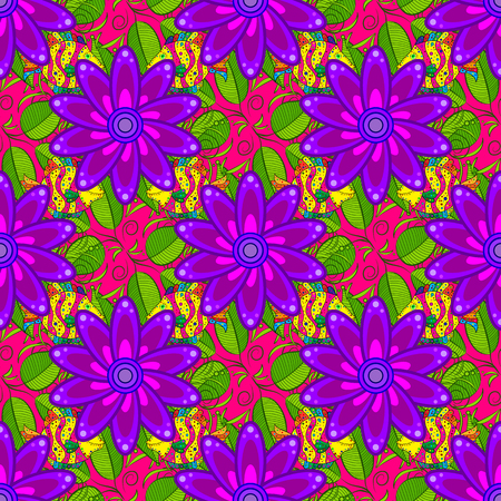 Vector watercolour floral pattern, delicate flowers, green, purple and magenta flowers, greeting card template. Beautiful fabric pattern. Illustration