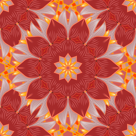 Abstract seamless pattern on red, neutral and pink colors with bright flowers. Elegant vector texture with floral elements. Cute floral pattern in the small flower. Illustration