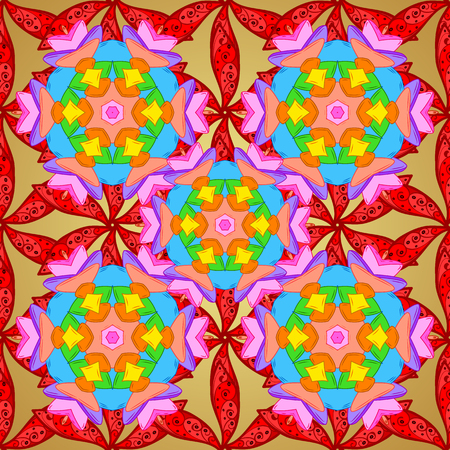 red carpet background: Red, orange and yellow colors. Mandala vector floral flower oriental coloring book page outline template carpet. With flowers.