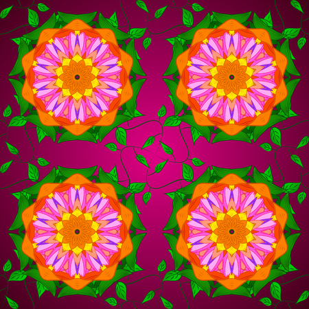 For wedding invitation, book cover or flyer. Green, orange and purple colors with colored ornament mandala, based on ancient greek and islamic ornaments.