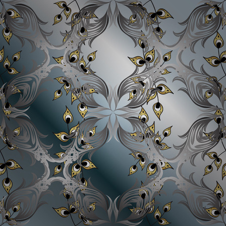 Classic oriental gray floral ornaments pattern