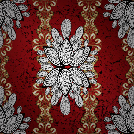 Pattern on black, red and gray colors with golden elements. Brilliant lace, stylized flowers, paisley. Vector. Golden texture curls. Openwork delicate golden pattern. Oriental style arabesques.