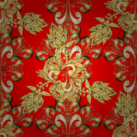 Seamless vintage pattern on red background with golden elements. Christmas, snowflake, new year 2018.