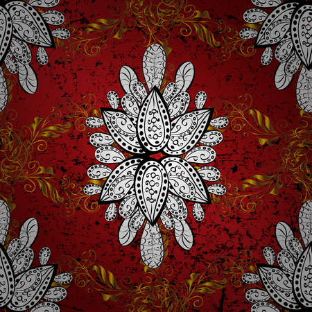 red carpet background: Vector golden textile print. Golden pattern on black, white and red colors with golden elements. Islamic design. Floral tiles. Pattern oriental ornament. Illustration