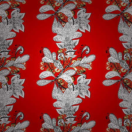 Golden element on red, gray and black colors. Golden red, gray and black floral ornament in baroque style. Damask ornamental pattern repeating background. Antique golden repeatable sketch.