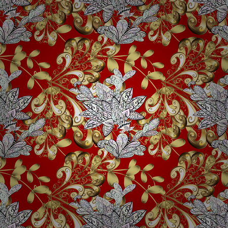 red carpet background: Damask golden floral pattern on a red, neutral and brown colors with white doodles. Ornate decoration. Vector illustration.