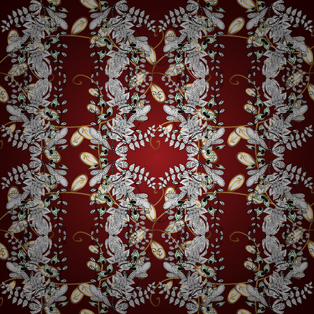 textile image: Vintage ornamental pattern on a red, white and brown colors with golden elements. Vector illustration.