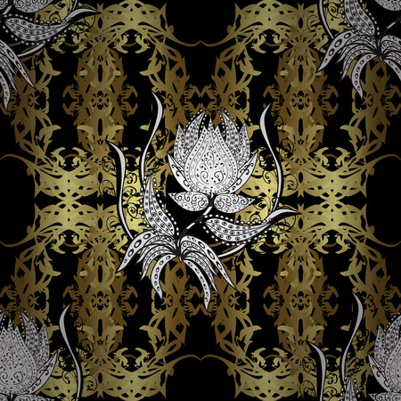 textile image: Ornate vector decoration. Seamless damask pattern background for sketch design in the style of Baroque. Golden pattern on black, neutral and brown colors with golden elements.