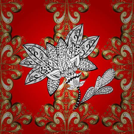 textile image: Vector illustration. Vintage ornamental pattern on a red, brown and gray colors with golden elements.