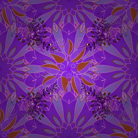 frailty: Vector seamless floral pattern. Flowers of the valley on violet, neutral and pink colors.