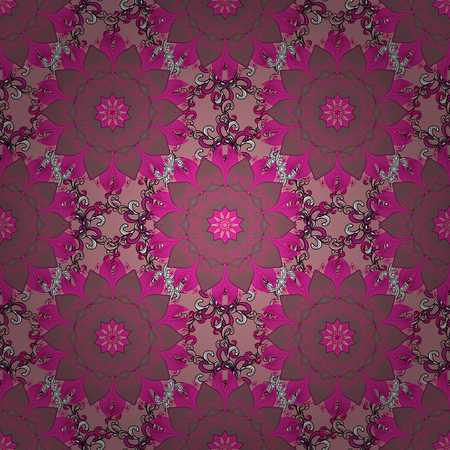 textile image: Seamless spring pattern with pink, magenta and purple Flowers, pink, magenta and purple, little pink, magenta and purple flowers. Vector sketch. On watercolor style.