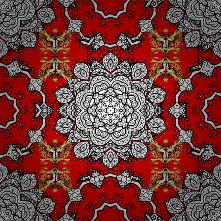 Mandala colorata su un baqckground rosso, bianco e nero. Arabesco. Ornamento rotondo con rami intrecciati, fiori e riccioli. Modello di mandala astratto circolare di vettore.
