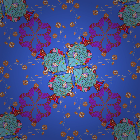 textile image: Vector illustration. On blue, violet and red colors. Abstract flower seamless pattern background. Vector pattern. Cute Floral pattern in the small flower.