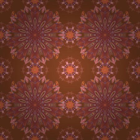 textile image: Flat Flower Elements Design. Colour Spring Theme seamless pattern Background. Vector illustration. Elegant Flowers Bouquet Watercolor on a brown, red and pink colors.